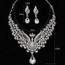silver necklace australia images Himstory a level australia crystal luxurious peacock jewelry sets jpg