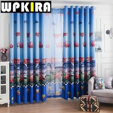 Sheer Blue Curtains Window Car Curtain Living Room Boys Children Cartoon Blue Curtains