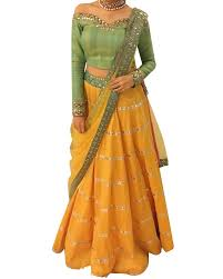 shop designer silk lehenga in yellow colour from simaaya pss17l23