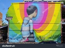 montreal canada 18 august 2015 rainbow stock photo 311416964 montreal canada 18 august 2015 rainbow colored street art wall mural by french