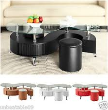 table with 2 stools s shape curve glass coffee table with 2 stools faux leather modern