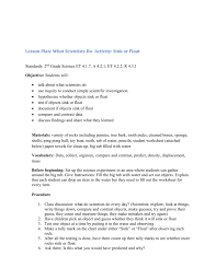 lesson sink or float word doc
