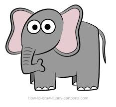 drawn toon elephant pencil and in color drawn toon elephant