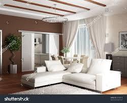 3d rendering interior modern drawing room stock illustration