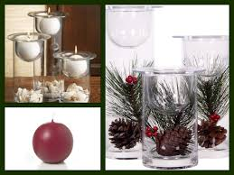 christmas centerpiece ideas glass hurricanes candle holders