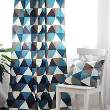 Geometric Pattern Curtains Chic Cotton Special Imaged Blue Print Curtains