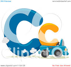 clipart capital and lowercase letter c with a car royalty free