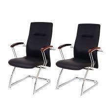 chaise à roulettes de bureau lot de 2 fauteuils chaises pour visiteur bureau sans noir