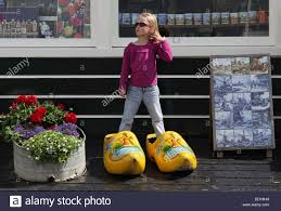 holland in large clogs wooden shoes stock photo royalty
