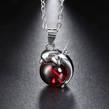 red necklace women images Silver red agate dolphin pendant necklace missty silver jewelry jpg