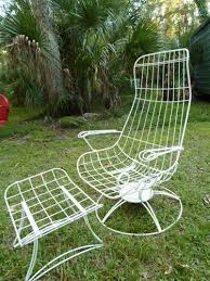 wrought iron patio ottoman mid century modern high back wire patio lounge chair ottoman