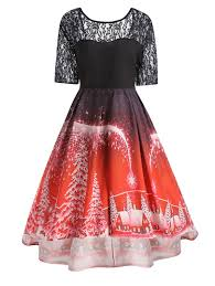 dresses red 5xl plus size vintage christmas party lace panel