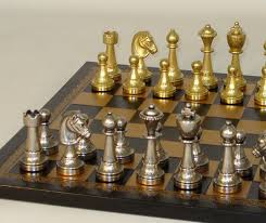 staunton metal chess set leather chess board ital fama of italy