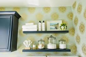delightful laundry room with navy floating laundry room shelves