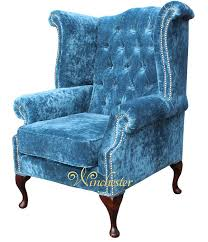 teal velvet chesterfield sofa chesterfield queen anne high back wing chair elegance crushed teal