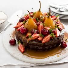 chocolate fudge cake with poached pears and salted caramel nadia lim