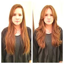 before and after red hair haircut long layers bumble and bumble