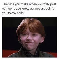 Funny Hello Meme - the face you make when you walk past someone you know but not