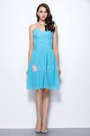 sweetheart one shoulder turquoise chiffon short casual bridesmaid