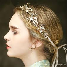 pearl hair accessories vintage wedding bridal headband ribbon rhinestone crown