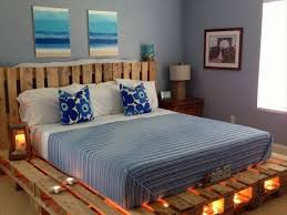 Making A Platform Bed From Pallets by Wooden Pallet Bed With Lights Pallet Wood Projects