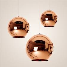 Colored Glass Pendant Lights Globe Copper Color Glass Mirror Ball Pendant Light Electroplate
