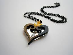 black heart necklace pendant images Kingdom hearts necklace black hearts emblem pendant yellow crown jpg