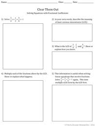 linear equations discovery worksheet u0026 reflection activity fractions