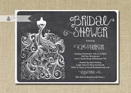 chalkboard bridal shower invitation gown sketch black white