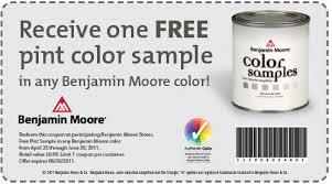 free sample pint of paint at participating benjamin moore stores