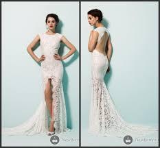 vintage lace mermaid wedding dress high neck backless high