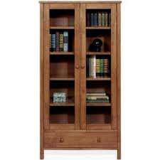 Bookshelf Glass Doors Mission Style Five Shelf Bookcase With Glass Doors Bookcas