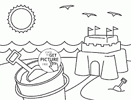bright summer sun and beach coloring page for kids seasons pages