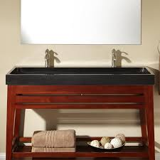 Bathroom Console Bathroom Black Granite Trough Sink On Brown Wooden Cabinet With