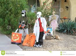 usa arizona halloween front yard skeletons editorial