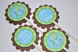 12 cupcake toppers dinosaur baby shower brown green and blue