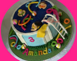 pool party swimmers cake topper kit in float fondant