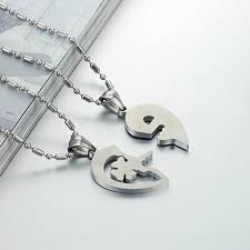 puzzle love necklace images Lock key matching set necklace 316l stainless steel couple jpg
