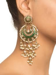 latkan earrings buy green meena latkan chandbali earrings by shillpa purii at jivaana
