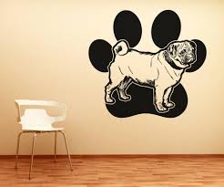 vinyl wall decal sticker pug and paw os aa618