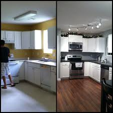 how to replace track lighting kitchen before and after kitchen renovation with refacing white