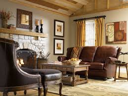 Wooden Center Table For Living Room Country Living Room Decor With Wall Art Scenery Leather Sofa Set