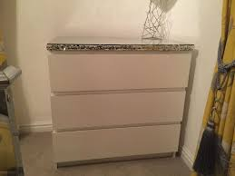 silver sequin customised white malm ikea chest of drawers with