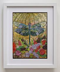 godbout original art print dragonfly art nouveau tiffany stained