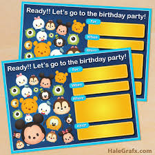 printable cute disney tsum tsum birthday invitation