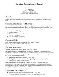 Resume Examples Internship Sales And Marketing Skills For Resume Resume For Your Job