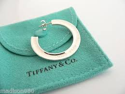 tiffany and co ls tiffany co 1837 silver medium circle hoop earrings excellent