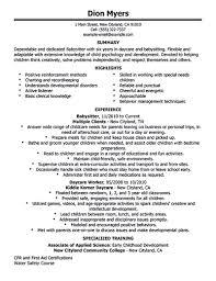 New Resume Samples by Babysitter Resume Sample Berathen Com