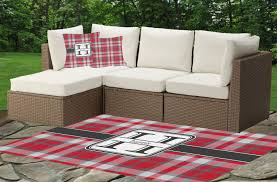 red u0026 gray plaid indoor outdoor rug personalized youcustomizeit