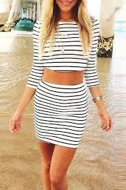 matching set striped crop top bodycon skirt matching set oasap